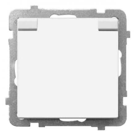 OSPEL SONATA Gniazdo bryzgoszczelne z uziemieniem IP-44 z klapką białe GPH-1RZ/m/00/w