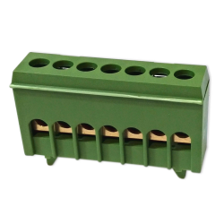 XBS Zacisk przyłączeniowy na szynę mostek izolowany 7-polowy 7x16mm² zielony NKSZ-7Z