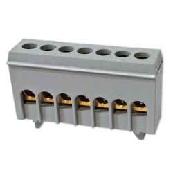 PLUS Zacisk przyłączeniowy na szynę mostek izolowany 7-polowy 7x16mm² szary