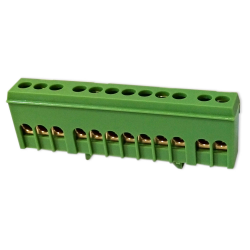 PLUS Zacisk przyłączeniowy na szynę mostek izolowany 12-polowy 12x16mm² zielony