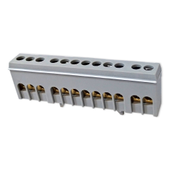 XBS Zacisk przyłączeniowy na szynę mostek izolowany 12-polowy 12x16mm² szary NKSZ-12S