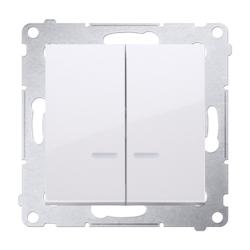 SIMON 54 Wyłącznik podwójny świecznikowy z podświetleniem do ramki biały DW5BL.01/11