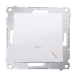 SIMON 54 Wyłącznik łącznik pojedynczy schodowy z podświetleniem do ramki biały DW6L.01/11