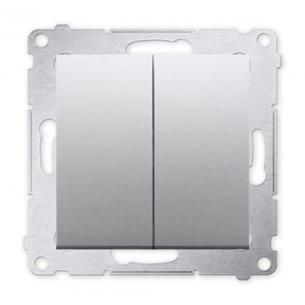 SIMON 54 Przycisk łącznik zwierny podwójny do ramki srebrny mat DP2.01/43