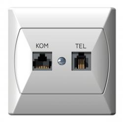 [OUTLET] OSPEL AKCENT Gniazdo komputerowo-telefoniczne białe, szybka dymna GPKT-A OU014