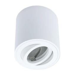 Oprawa natynkowa LED ALUMINIUM okrągła ruchoma biała + gniazdo GU10 ID-5001