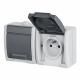 Elektro-Plast AQUANT Gniazdo podwójne z klapką Z/U natynkowe IP55 szare 1242-10