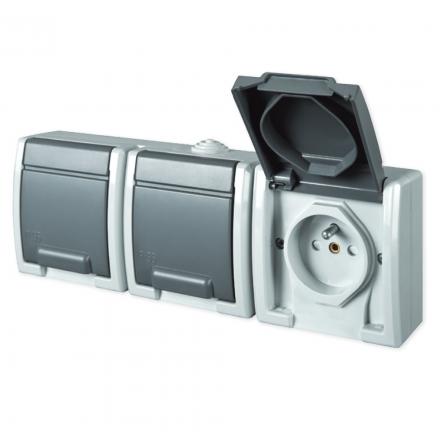 Elektro-Plast AQUANT Gniazdo potrójne z klapką Z/U natynkowe IP55 szare 1243-10
