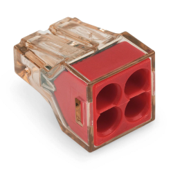 WAGO Szybkozłączka na drut 4x1,5-4mm² czerwona/transparentna 773-604 1szt.