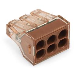 WAGO Szybkozłączka na drut 6x1,5-4mm² brązowa/transparentna 773-606 1szt.