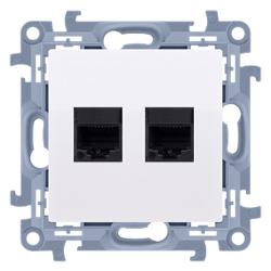 SIMON 10 Gniazdo komputerowe podwójne 2xRJ45 kat. 5e do ramki białe C52.01/11