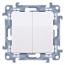 SIMON 10 Przycisk łącznik zwierny podwójny do ramki biały CP2.01/11