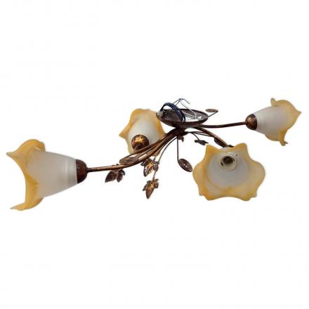 [OUTLET] KOMBIT Lampa wisząca 4x40W E27 stylizowana na drewno CZ246