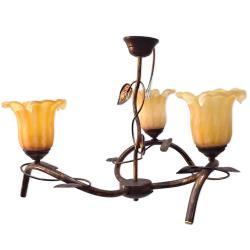 [OUTLET] KOMBIT Lampa wisząca 3x40W E27 stylizowana na drewno klosz brązowy CZ238