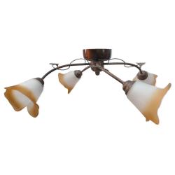 [OUTLET] TOMEX Lampa wisząca 4x40W E14 metal-patyna/drewno-machoń klosz mleczny/pomarańczowy TO331