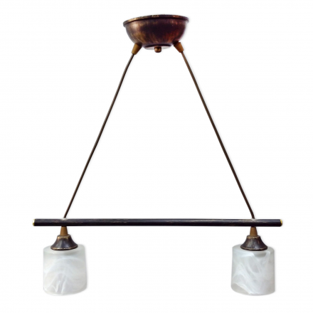 [OUTLET] KOMBIT Lampa wisząca linka 2x40W E14 patyna klosz biały matowy CZ239