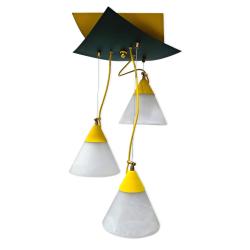 [OUTLET] KOMBIT Lampa wisząca linka regulowana 3x40W E27 żółta/czarna klosz biały matowy CZ205
