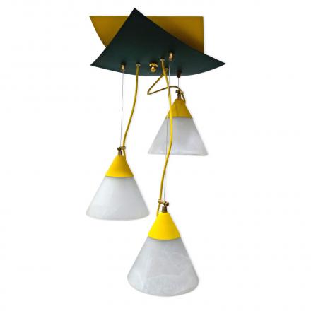 [OUTLET] KOMBIT Lampa wisząca linka regulowana 3x40W E27 żółta/zielona klosz biały matowy CZ205