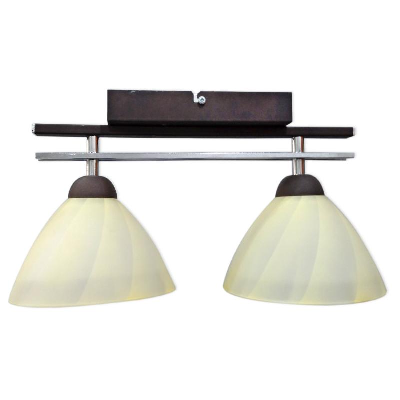 [OUTLET] GLIMEX Lampa wisząca 2x60W E27 brązchrom klosze żółte BY086