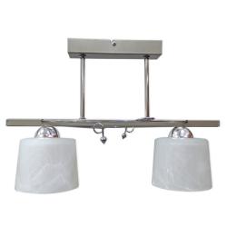 [OUTLET] GLIMEX Lampa wisząca 2x60W E27 satyna/chrom klosze białe BY118