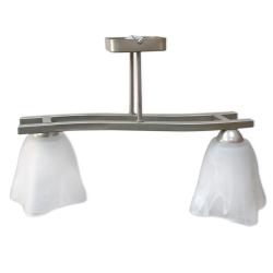 [OUTLET -30%] GLIMEX Lampa wisząca 2x60W E27 satyna klosze białe BY119