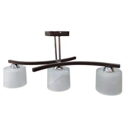 [OUTLET] GLIMEX Lampa wisząca 3x60W E27 ciemny brąz/chrom klosze białe BY127