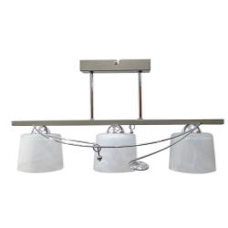 [OUTLET] GLIMEX Lampa wisząca 3x60W E27 satyna/chrom klosze białe BY078