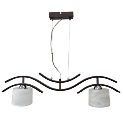 [OUTLET] GLIMEX Lampa wisząca linka regulowana 2x60W E27 ciemny brąz/chrom klosze białe BY077