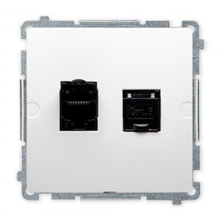 SIMON BASIC Gniazdo komputerowe podwójne RJ45 kat.6 do ramki białe BM62.01/11