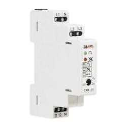 ZAMEL Przekaźnik kolejności, zaniku i asymetrii faz na szynę 3P+N 1Z/R 10A 230/400V CKM-01