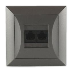 TIMEX OPAL Gniazdo komputerowe podwójne 2xRJ45 2x8pin zacisk krone LSA+ grafit GTP-22 Op GR