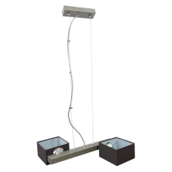 [OUTLET -10%] GLIMEX Lampa wisząca linka regulowana 2x40W E14 satyna klosze brązowe materiałowe BY159