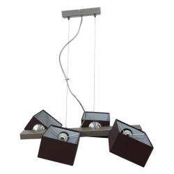 [OUTLET] GLIMEX Lampa wisząca linka regulowana 4x40W E14 satyna klosze brązowe materiałowe BY160