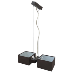 [OUTLET] GLIMEX Lampa wisząca linka regulowana 2x40W E14 brązowa klosze brązowe materiałowe BY158