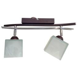 [OUTLET] GLIMEX Lampa wisząca 2x60W E27 brąz/chrom klosze białe matowe BY086