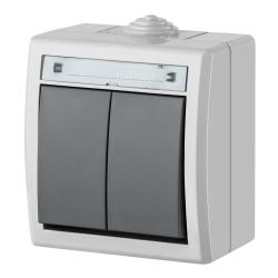 Elektro-Plast AQUANT Łącznik świecznikowy (podwójny) natynkowy IP55 szary ŁNT-5 1202-10