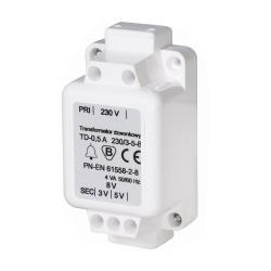 [OUTLET] ZAMEL Transformator dzwonkowy tablicowy/natynkowy 230V do 3/5/8V 0,5A ZZ015