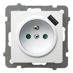 OSPEL AS Gniazdo pojedyncze z/u + Ładowarka USB do ramki białe GP-1GZPUSB/m/00