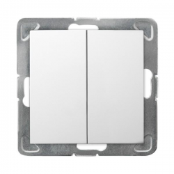 OSPEL IMPRESJA Przycisk Łącznik zwierny podwójny do ramki biały ŁP-17Y/m/00