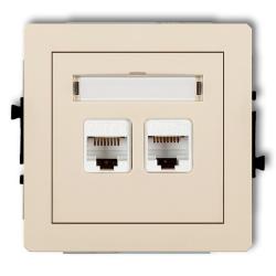 KARLIK DECO Gniazdo podwójne komputerowe 2xRJ45 beżowe 1DGK-2