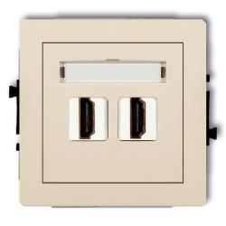 KARLIK DECO Gniazdo podwójne HDMI beżowe 1DHDMI-2