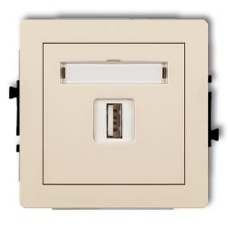 KARLIK DECO Gniazdo pojedyncze USB 2.0 beżowe 1DGUSB-1