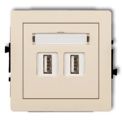 KARLIK DECO Gniazdo podwójne USB 2.0 beżowe 1DGUSB-2