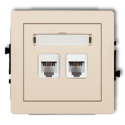 KARLIK DECO Gniazdo podwójne telefoniczne 2xRJ11 beżowe 1DGT-2