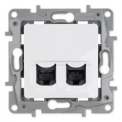 Legrand NILOE Gniazdo komputerowe podwójne 2xRJ45 kat. 6 STP do ramki białe 664776