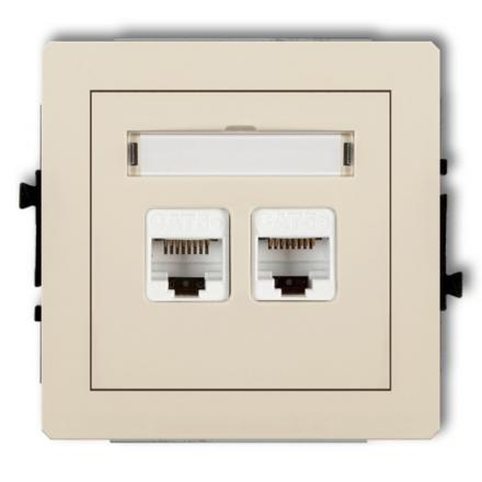 KARLIK DECO Gniazda komputerowe podwójne 2xRJ45, kat. 6, ekranowane, 8-stykowy beżowy 1DGK-6