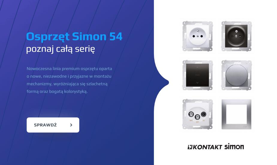 Simon 54 gniazda, włączniki, ramki simon54 biały, simon54 srebrny, simon54 antracyt