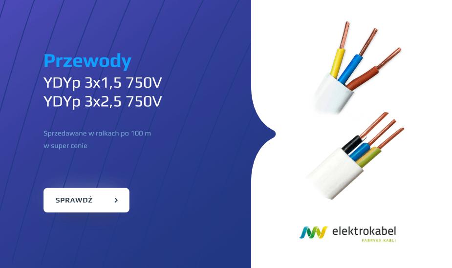 Przewody YDYp w super cenie Przewód YDYp 3x15 750V, YDYp 3x2,5 750V elektrokabel dobra cena