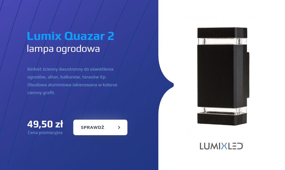 Quazar 2 Lumix lampa ogrodowa, kinkiet ścienny, oświetlenie elewacji, tarasów, kolor grafit